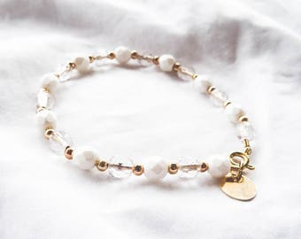 Ruka | White and Gold Beaded Bracelet | Gold Filled | Stacking Bracelet