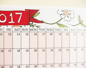 2015 Large Floral A3 Wall Planner Calendar