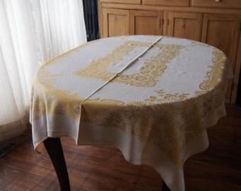 Linen Damask Tablecloth Gold Bone Marigolds 46 x 60