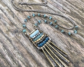 Ancient Abacus Bohemian Necklace with Crystal and Gemstone - Long Aqua Blue Boho Chic Necklace - Gold and Turquoise - Pyrite, Amazonite
