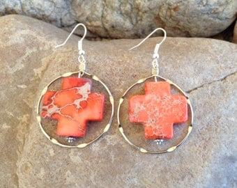 Coral Cross with Silver Hoop Earrings