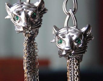 Tiger Tassels--Vintage Tiger Face Chain Green Onyx Vintage Chain Tassel EARRINGS