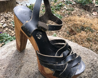 1970s Apache, black leather, open toe, slingback,wooded,platform, high heels, womens 7