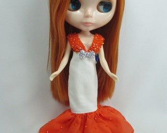 Outfit costume dress for Blythe doll 400 orange