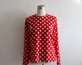 Vintage Liz Clairborne Red Polka Dot Top/ Small