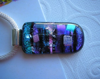 Dichroic Glass Pendant Blue, Green, Purple, Pink Shield-Shape Fused Glass Necklace Silver Plated Mesh Cord Color Shifting Iridescent Dichro