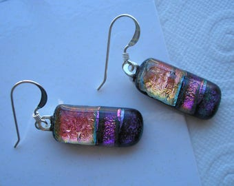 Earrings Dichroic Peach Meets Purple Striped Fused Dichroic Glass Jewelry Dangles Iridescent Dangle Earrings Kiln Fired Hand Designed Glass