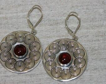 Big Silver Earring, Garnet  Earrings, Silver Earrings, Handmade Earrings, Sterling Silver Earrings, Red Stone Earring, Ready to Ship,