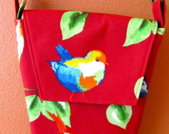 Rebecca #12  Red Garden Bird Purse, Cross Body Purse, Cross Body Bag, Shoulder Bag, Shoulder Purse, Handbag, Purses, Bags, Bird Purse
