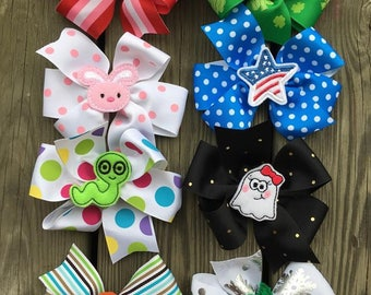 HOLIDAY Bow Set #7 - Large Bows - Boutique Hairbow - Large Hairbow - Little girl bow- Valentines St patrick easter july 4th christmas school