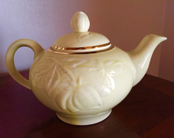 Charming Yellow Teapot - Perfect Condition - Gold Trim - Mid Size Tea Pot - Cottage Chic - Shabby Chic - Teapot - Quaint - Raised Pattern