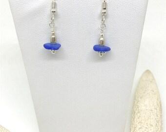 Sterling Seaglass Earrings - RARE Cobalt Blue Beach Glass - Cleveland Beachglass - Pierced Earrings - Mermaid Earrings - FREE Ship inside US