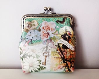Garden Coin Purse Frame. Printed UP-Leather Coin Purse Frame. Metal Coin Purse Frame. Green Coin Purse.