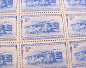 Trainspotting 50 Vintage UNused US Postage Stamps 3-c Blue Wedding Save the Date Baltimore and Ohio Railroad Locomotive Train B&O Philately