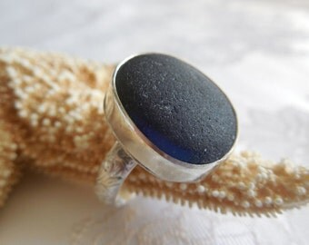 Blue English Multi Sea Glass Sterling Silver Ring - US Size 8-1/2