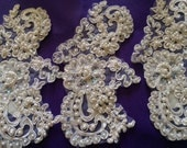 Iridescent beaded and sequined applique set of three
