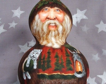 """Arctic Pack Pals, woodsy Santa Claus, gourd, hand painted gourd, 10"""" tall"""