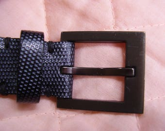 Banana Republic Leather Belt Medium Large Black Grey 1 inch wide MINT CONDITION