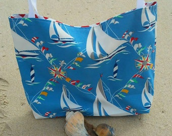 One Left Sail Boats Beach Bag-Large Beach Bag-Tote-Indoor Outdoor-Tote