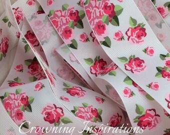 1.5  Pink Roses on White  US Designer Ribbon
