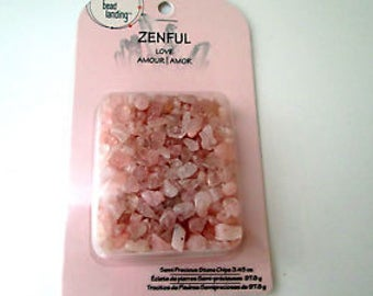 Jewelry Beads Rose Quartz Pink Semi-Precious Polished Stone Chips Pre-Drilled 3.45oz Pkg Shipping Included