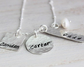 3 names custom stamped mothers necklace, personalized gift for her, name tag necklace, three names, mom with 3 kids, grandma necklace