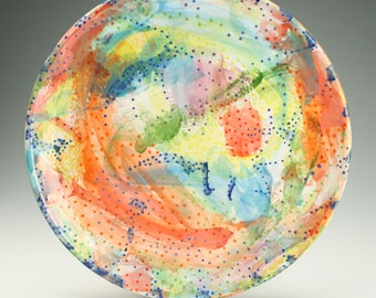 Large Serving Platter, Colorful Abstract and Dots, Round Platter, Large Ceramic Platter, Dinnerware, Tableware, Modern Abstract Art