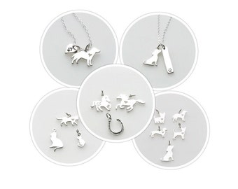Sterling Silver Charm Necklace Dog Cat Kitten Yorkie Lab Chihuahua Dachshund Horse Horseshoe Heart for Women ONE Necklace with TWO charms