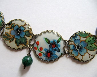 Vintage Tin Charm Bracelet, White with Blue and Orange Flowers, Green Stone Beads, Adjustable, OOAK Handmade Bracelet, Repurposed Jewelry