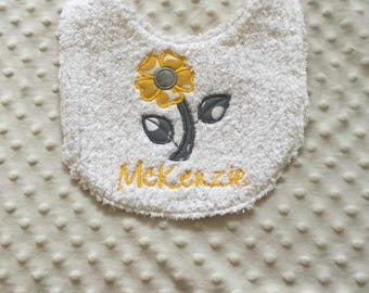 Baby Girl Personalized Baby Bib, Yellow Gray Floral Applique