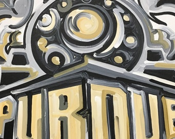 30x24 Officially Licensed Purdue University Painting Justin Patten Art College Football Basketball Purdue Pete Train Boilermaker Express