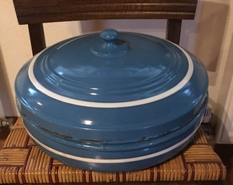 Pretty French Country Style European Graniteware Enamelware Nautical Blue White Bread Bin for Thanksgiving Farmhouse Table