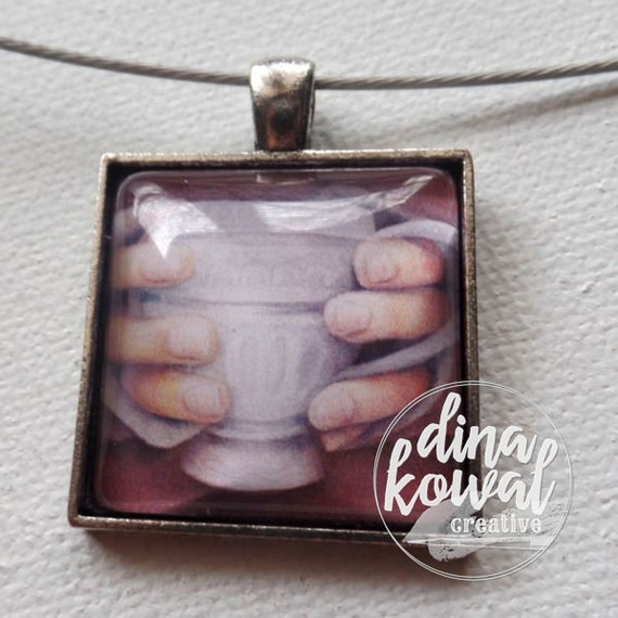 Morning Tea - teacup mug - domed glass tile pendant necklace