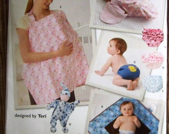 Babies Accessories: Nursing Cover, Diaper Cover in Three Sizes, Bunting, Changing Mat and Doll Simplicity Pattern 2165 UNCUT
