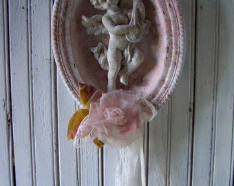 Shabby White & Pink Chippy Rusty Faux Finished Wall Plaque French Lace Cherub Vintage Milinery Rose Hand Artist Created Up-cycled Finds