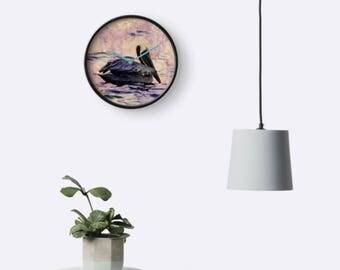 twilight pelican - wall clock