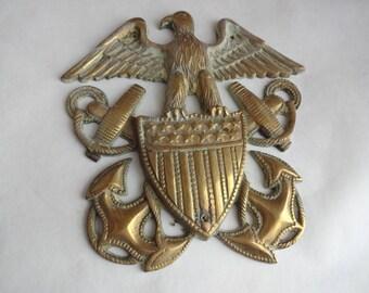 1950s Brass Federal Eagle Navy Anchor Plaque