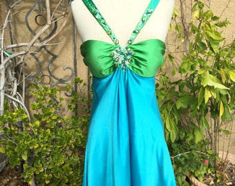 A vintage NOS 1990s Gorgeous Marc Bouwer beaded stoned Blue green sexy Silk cocktail dress size XS