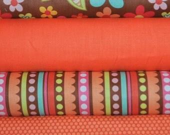 Sweet Nothings Brown 4 Fat Quarters Bundle by Zoe Pearn Designs for Riley Blake, 1 yard total