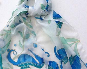 Seahorses hand painted silk scarf.  Ladies scarves. Unique silk scarf.  Birthday gift.