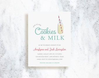 Cookies and Milk Invitations // Birthday Invite // Baby Shower