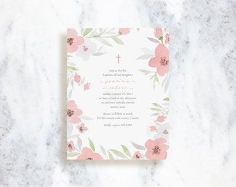 Baptism Invitation // Floral // Baby Christening Invite // Baby Announcement