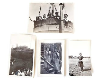 Vintage Lot, 4 World War II Navy Snapshots/ Navy Ship/ Navy Women/ WRENS/ 1940s/ Ship Crows Nest/ Altered Art