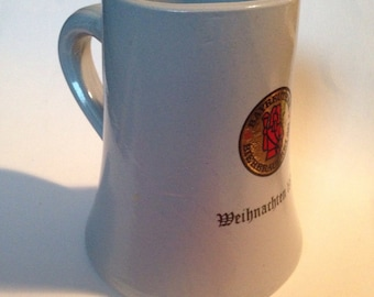 "Handsome Beer Stein from Germany!  ""Bayreuther Bierbrauerei AG"" -- Weihnachten 1975"