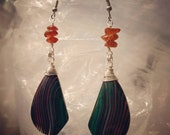 Amber and fluorite earrings