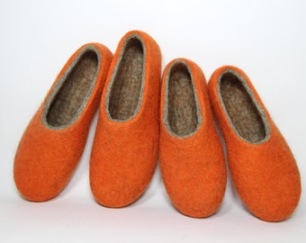 Boiled Wool Clogs, Orange Clogs, Felted Slippers For Women Men, Ethical Shoes, Minimalist Shoes, Bedroom Slippers, Wool Shoes Rubber Soles