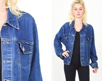 1990's DENIM JACKET  Blue Denim. 90's Grunge. Slim Fitted Crop Cut.  Size S/M. 80s 90s denim coat