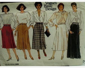 "Slightly Flared Skirt Pattern, Front Pleats, Side Pockets, Waistband, Belt Carriers, Vogue No. 1399 UNCUT Size 10 (Waist 25""64cm) Fr/Eng"