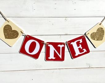 ONE Birthday Banner, Baby Girl Birthday, first birthday, red and gold, heart banner, Birthday Girl, First Birthday Party, valentine birthday