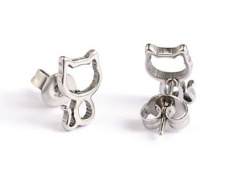 Hollow Cat Stud Earrings Stainless Steel Setting As Seen On Jane.com